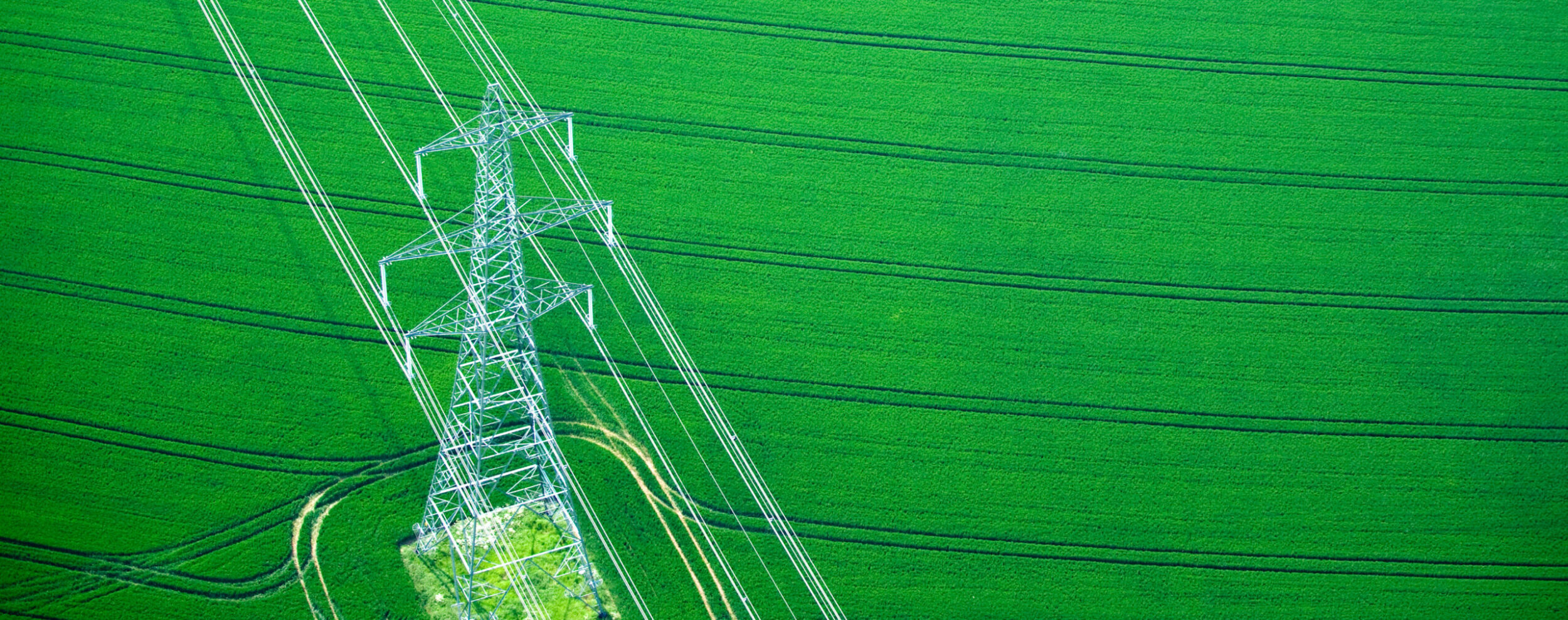Aerial view of electricity pylons supplying power