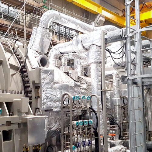 Inside a waste to energy facility generating heat and electricity