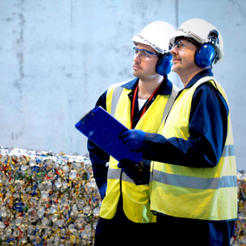 Health and safety inspectors assessing a waste to energy facility